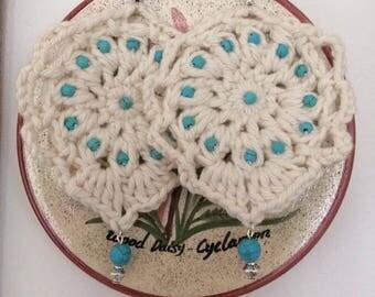 Handmade chandelier crochet earrings