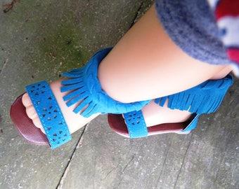 Cute Teal Fringe Sandals
