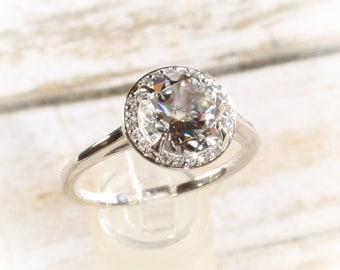 14K White Gold 2 Carat Genuine White Topaz & .05CTW Diamond Halo Birthstone or Engagement Ring