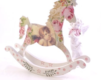 Rocking horse toy Baby gift Baby wooden toys Nursery decoration Nursery gift Horse decoration Baby shower gift Wooden figurine Vintage toys