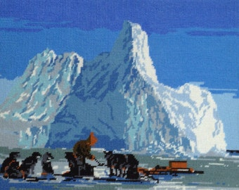 Iditarod Arctic Dogsled Team Fiber Artwork Ice-Capped Mountains Scenery Large Completed Cross-Stitch Arctic Inuit Dog Pack Scene Yukon Quest