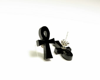 Ankh Egyptian Cross Crucifix Laser Cut Stud Earrings Black Plexiglass