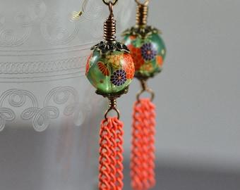 Tassel Earrings Featuring Vintage Japanese Tensha Pale Green Flower Beads Orange Yellow Purple Enameled Orange Chain