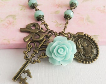 Blue rose necklace, charm necklaces, blue rustic flower necklace, beaded necklaces, romantic jewelry, bronze jewelry, gift for her
