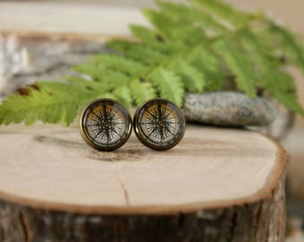 Vintage Compass Stud Earrings, Antique Bronze, Glass Cabochon, Old Compass Stud Earrings