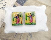 Vintage Hand Painted Bone Cabochons - 2 Cabs - Domed Rectangles 17mm x 22mm - Persian - Dancing w Trees, Grass - Blue, Green, Pink on Cream