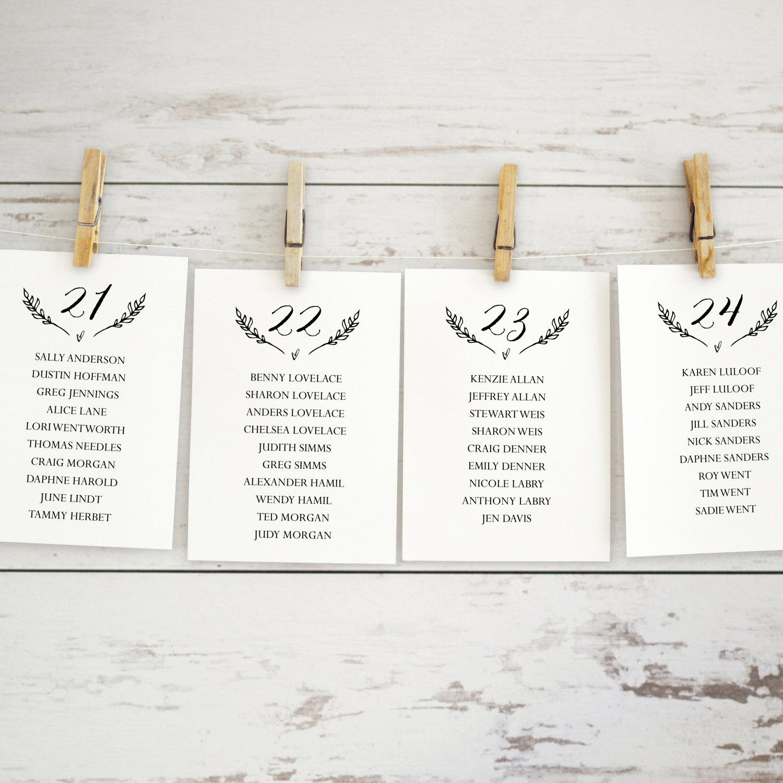 Wedding Seating Chart Template, Editable Seating Chart Printable ...