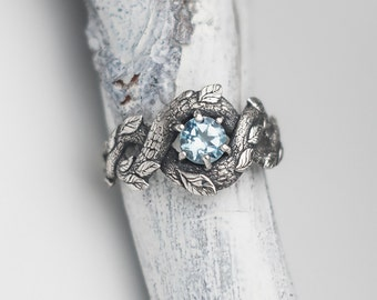 Blue Dragon Ring, Nature Inspired Engagement Ring, Wedding Ring, Mermaid Jewelry, Dragon Scale Ring, Gem Stone, Sterling Silver Snake Ring