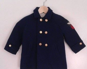 Vintage 1950's Millicent's Navy Blue Wool Military Style Pea Coat Double Breasted Sz 3T Traditional Nautical John Jr
