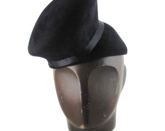 Womens Hat Black Velour Fur Felt Hat Handmade Hat Black Braid Church Cloche Derby Ascot Races Fedora Art Deco Custom Made for Each Client