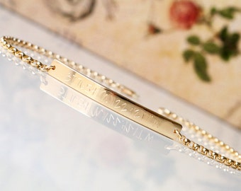 14K SOLID GOLD Coordinates Bracelet  - Personalized Bar Bracelet, GPS Coordinates Bracelet - Latitude & Longitude - B4042R