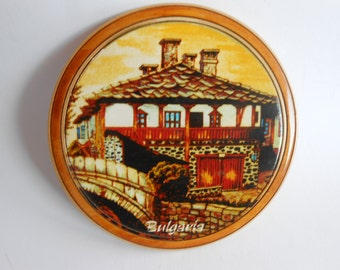 Wooden Plate, Vintage decorative wooden plate,  Hand Painted Wooden Plate, Bulgarian Ornament Folk motifs Plate, Home decor
