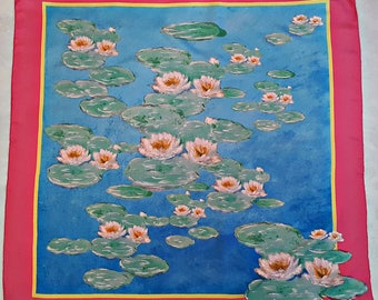"Vintage Authentic Claude Monet Impressionism Water Lilies Silk 34"" Square Scarf"