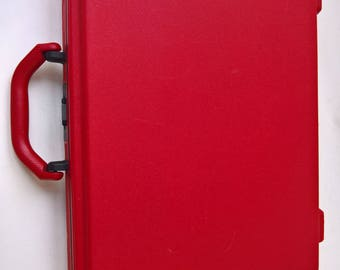 Vintage Samsonite Red Hard Shell Slim Briefcase Attache - Rare Retro