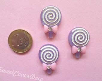 30 x 21 mm Kit 3 Lilac Blue Rhinestone Lollipop Cabochons