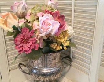 Gorgeous Vintage Aged Patina Silver Plated Trophy Champagne/Wine Bucket Romantic
