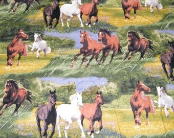 BTY GALLOPING HORSES Scenic Print 100% Cotton Quilt Craft Fabric by the Yard