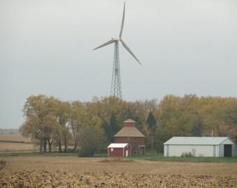 Farm Photo, Barn Photo, Windmill Photo, Country Photography, Rustic Photo, Farmhouse Photo, Wind Turbine Photo