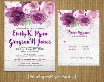 Rustic Wedding Invitation,Plum Roses,Sage Green Leaves,Confetti,Rustic White Wood,Elegant,Romantic,Custom,Printed Invitation,Wedding Set