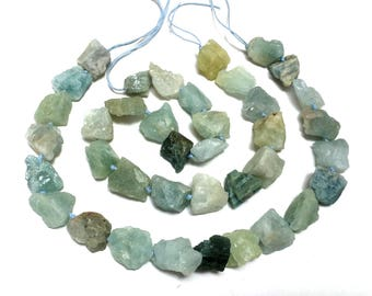 "Aquamarine rough nuggets natural raw hammered gemstone beads 15.5"" strand"