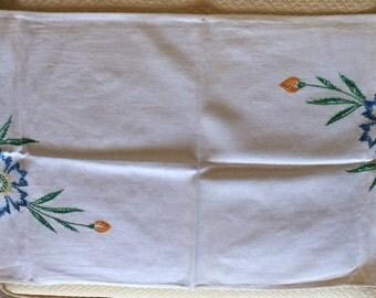 Hand Embroidered Ecru or Eggshell linen table runner flowers