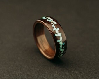 Indian rosewood bentwood ring, indian rosewood ring lined with  walnut wood and turquoise inlay
