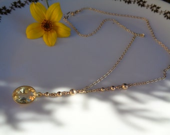 Gold necklace with citrine, 585 gold filled, beautiful design
