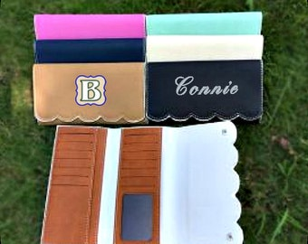 Scalloped Faux Leather Wallets,Embroidered,Personalized,HTV available, matching colors to scalloped purses,wallet,several credit card slots