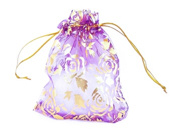Drawstring Bags - 15 Purple Sheer Voile Bags with Flowers - 12cm x 10cm Organza Bags - Bags for Jewelry - Pretty Party Favor Bags - BG410