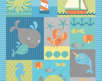 Sea Creatures fabric panel from the Splish Splash Collection by Gail Cadden for Timeless Treasures Fabric