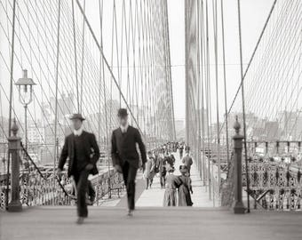 Brooklyn Bridge Walkway, 1905. Vintage Photo Reproduction Print. 8x10 Black & White Photograph. New York City, Manhattan, Walking, 1900s.