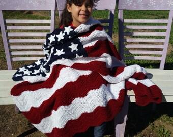 Star Spangled Throw - American Flag Crocheted Blanket