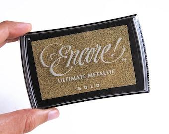 Encore gold stamp pad, gold ink pad, metallic ink pad, encore ultimate metallic gold, gold metallic ink pad, Tsukineko gold ink, encore ink