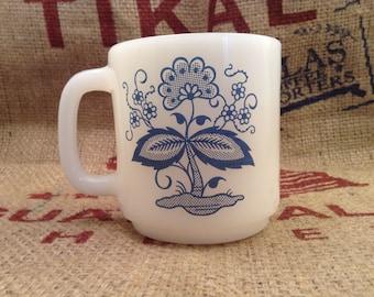 Glasbake Coffee Mug Blue and White Milk Glass