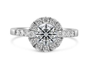 0.57ct Side Diamonds in 14K White Gold Semi Mount Filigree Basket Halo Ring (NO CENTER STONE)