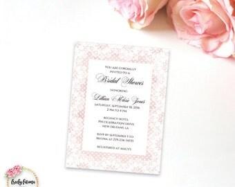 Pink and White Lace - Elegant Bridal Shower Invitation - Calligraphy Invitation - Digital Invitation - Printable Invitation