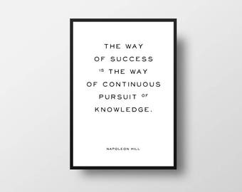 Napoleon Hill, Success Quote, Knowledge Quote, Inspiring, Print, Great Thinkers, Self Help, Motivational Art, Book Quotes, Book Print