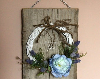 Square Blue Spring Wreath