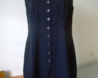 Blouse / tunic long, sleeveless, black woman, buttoned front, Vintage 1990, size M / 38/40