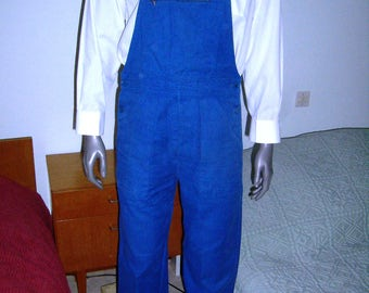 VTG 60s, French, used work overalls, bib strap, blue indigo/bugatti, french workwear