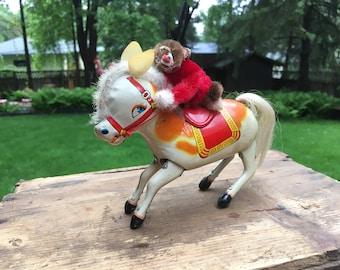 Vintage Tin Toy Wind Up Donkey with Monkey Tin Litho Collectible Tin Toys