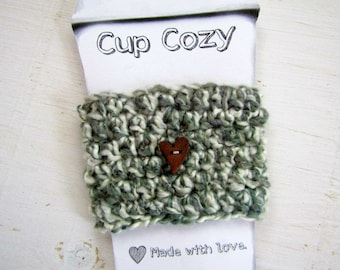 FREE SHIPPING Coffee /Tea Mug Cozy / Sleeve / Cup Cozy Mug Warmer Heart Button Hand Crocheted