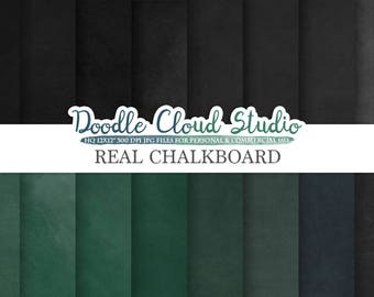 Real Chalkboard digital paper, Green / Back chalkboard Backgrounds, dirty / clean schoolboard textures, Instant Download, Commercial Use