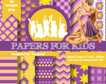 Digital Papers, Tangled, Rapunzel, Princess, Girls, Background, Clipart, Invitation, Birthday, Papers for Kids