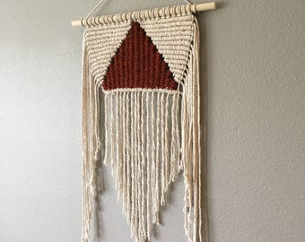 Macrame Wall Hanging with Handwoven deep red triangle block detail