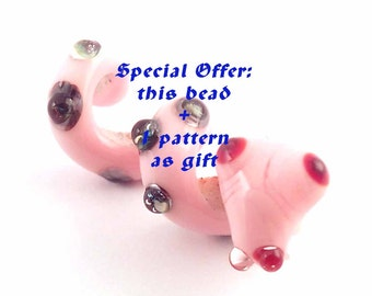 Special offer 1 pattern + 1 snake loversofbeads SRA artist Lampwork pink Snake Glass Dread Bead - S867