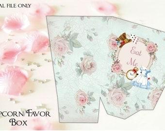Digital Alice in Wonderland Popcorn Favor Box - Printable,DIY,Party,Download