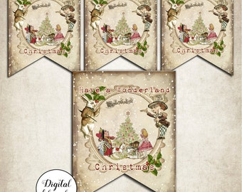 Digital Alice in Wonderland Christmas Bunting Banner Flags Garland - Party,Decoration,Printable,Download,Garland,Banner