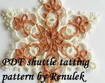 Snowflake CAPPUCCINO. PDF Original Shuttle Tatting Pattern. Star. Instant Digital Download. Tatting yourself. xmas gift. schemat frywolitki.