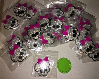 Skull with Bow, Monster High inspired Rhinestone Pendant Chunky Necklace Pendant